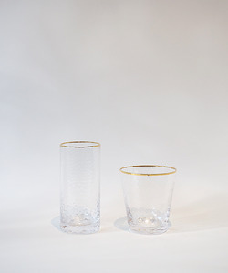 Aqua glass gold line cup